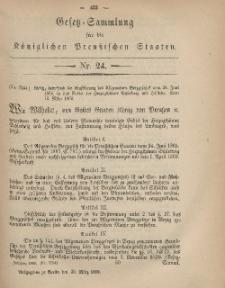 Gesetz-Sammlung für die Königlichen Preussischen Staaten, 22. März, 1869, nr. 24.