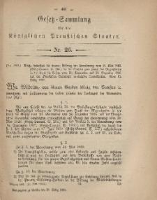 Gesetz-Sammlung für die Königlichen Preussischen Staaten, 25. März, 1869, nr. 26.