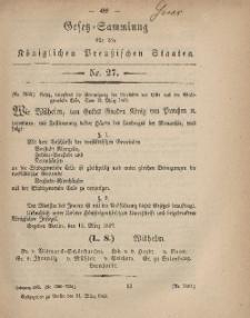Gesetz-Sammlung für die Königlichen Preussischen Staaten, 31. März, 1869, nr. 27.