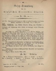 Gesetz-Sammlung für die Königlichen Preussischen Staaten, 9. April, 1869, nr. 28.