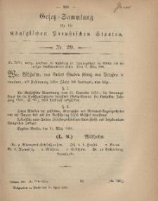 Gesetz-Sammlung für die Königlichen Preussischen Staaten, 15. April, 1869, nr. 29.