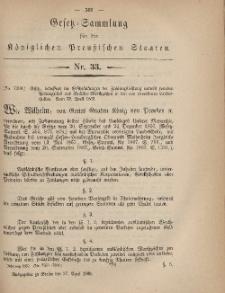 Gesetz-Sammlung für die Königlichen Preussischen Staaten, 27. April, 1869, nr. 33.
