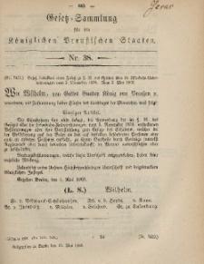 Gesetz-Sammlung für die Königlichen Preussischen Staaten, 21. Mai, 1869, nr. 38.