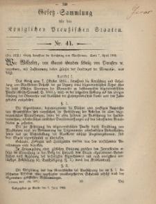 Gesetz-Sammlung für die Königlichen Preussischen Staaten, 5. Juni, 1869, nr. 41.