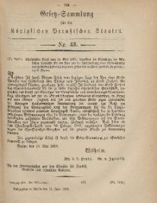 Gesetz-Sammlung für die Königlichen Preussischen Staaten, 11. Juni, 1869, nr. 43.