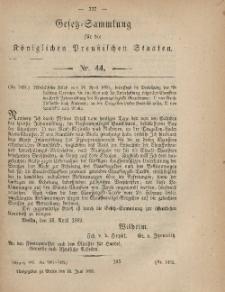 Gesetz-Sammlung für die Königlichen Preussischen Staaten, 22. Juni, 1869, nr. 44.