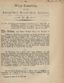 Gesetz-Sammlung für die Königlichen Preussischen Staaten, 25. Juni, 1869, nr. 45.