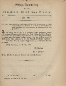 Gesetz-Sammlung für die Königlichen Preussischen Staaten, 1. Juli, 1869, nr. 46.