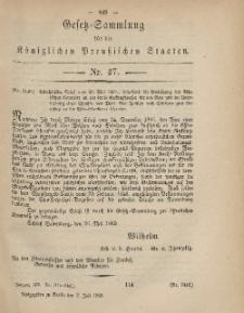Gesetz-Sammlung für die Königlichen Preussischen Staaten, 3. Juli, 1869, nr. 47.