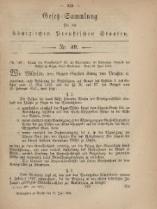 Gesetz-Sammlung für die Königlichen Preussischen Staaten, 21. Juli, 1869, nr. 49.