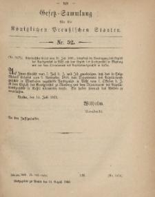 Gesetz-Sammlung für die Königlichen Preussischen Staaten, 14. August, 1869, nr. 52.