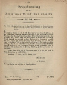 Gesetz-Sammlung für die Königlichen Preussischen Staaten, 1. September, 1869, nr. 55.