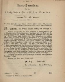 Gesetz-Sammlung für die Königlichen Preussischen Staaten, 17. September, 1869, nr. 57.