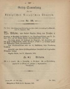 Gesetz-Sammlung für die Königlichen Preussischen Staaten, 24. September, 1869, nr. 59.
