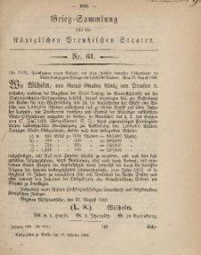 Gesetz-Sammlung für die Königlichen Preussischen Staaten, 15. Oktober, 1869, nr. 61.