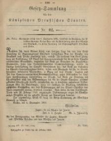 Gesetz-Sammlung für die Königlichen Preussischen Staaten, 22. Oktober, 1869, nr. 62.