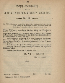 Gesetz-Sammlung für die Königlichen Preussischen Staaten, 2. November, 1869, nr. 63.