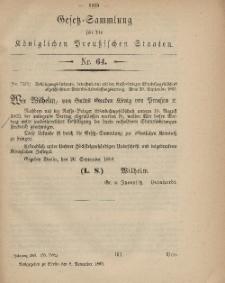 Gesetz-Sammlung für die Königlichen Preussischen Staaten, 8. November, 1869, nr. 64.