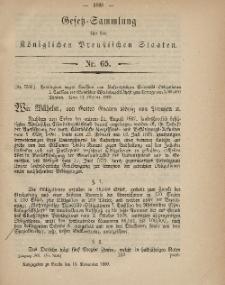 Gesetz-Sammlung für die Königlichen Preussischen Staaten, 13. November, 1869, nr. 65.