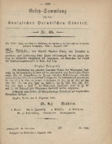 Gesetz-Sammlung für die Königlichen Preussischen Staaten, 4. Dezember, 1869, nr. 68.