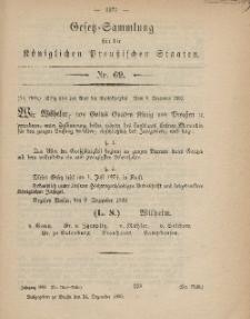 Gesetz-Sammlung für die Königlichen Preussischen Staaten, 24. Dezember, 1869, nr. 69.