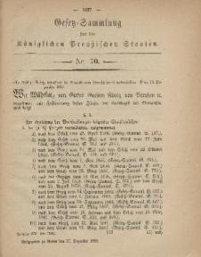 Gesetz-Sammlung für die Königlichen Preussischen Staaten, 27. Dezember, 1869, nr. 70.