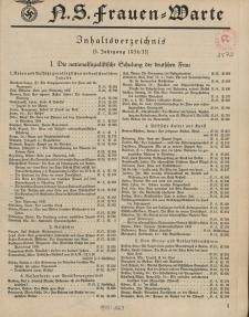 N.S. Frauen-Warte : Zeitschrift der N. S. Frauenschaft (Inhaltsverzeichnis, 3. Jg. 1934/35)
