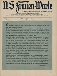 N.S. Frauen-Warte : Zeitschrift der N. S. Frauenschaft, 4.Jahrgang 1936, 2. Februar, H. 18