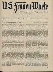 N.S. Frauen-Warte : Zeitschrift der N. S. Frauenschaft, 5.Jahrgang, 1. September 1936, H. 6