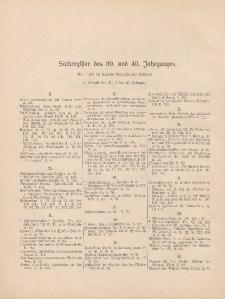 Pastoralblatt für die Diözese Ermland (Sachregister des 39 und 40 Jahrganges)