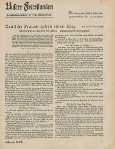 N.S. Frauen-Warte : Zeitschrift der N. S. Frauenschaft (Unsere Feierstunden- Beilage zu Heft 8)