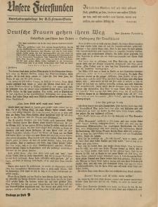 N.S. Frauen-Warte : Zeitschrift der N. S. Frauenschaft (Unsere Feierstunden- Beilage zu Heft 9)