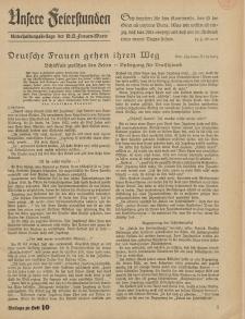 N.S. Frauen-Warte : Zeitschrift der N. S. Frauenschaft (Unsere Feierstunden- Beilage zu Heft 10)