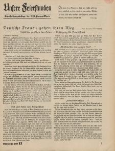 N.S. Frauen-Warte : Zeitschrift der N. S. Frauenschaft (Unsere Feierstunden- Beilage zu Heft 13)