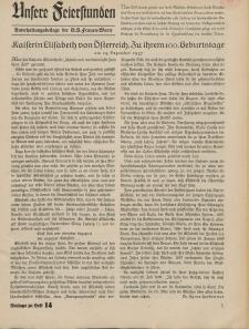 N.S. Frauen-Warte : Zeitschrift der N. S. Frauenschaft (Unsere Feierstunden- Beilage zu Heft 14)