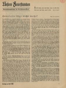 N.S. Frauen-Warte : Zeitschrift der N. S. Frauenschaft (Unsere Feierstunden- Beilage zu Heft 15)