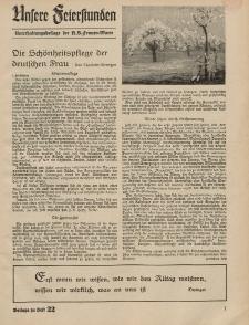 N.S. Frauen-Warte : Zeitschrift der N. S. Frauenschaft (Unsere Feierstunden- Beilage zu Heft 22)