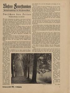 N.S. Frauen-Warte : Zeitschrift der N. S. Frauenschaft (Ansere Feierstunden : Beilage zu Heft 10)