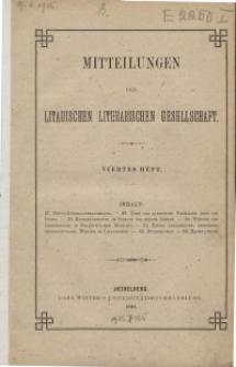 Mitteilungen der Litauischen Literarischen Gesellschaft, H. 4, 1881