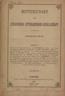 Mitteilungen der Litauischen Literarischen Gesellschaft, H. 6, 1883