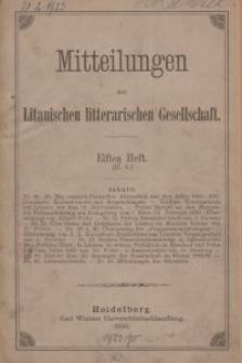 Mitteilungen der Litauischen Literarischen Gesellschaft, H. 11 (II.5), 1886