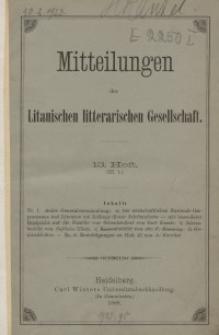 Mitteilungen der Litauischen Literarischen Gesellschaft, H. 13 (III.1), 1888