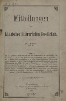 Mitteilungen der Litauischen Literarischen Gesellschaft, H. 14 (III.2), 1889