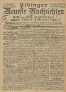 Elbinger Neueste Nachrichten, Nr. 1 Mittwoch 3 Januar 1912 64. Jahrgang