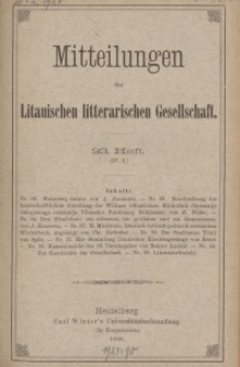 Mitteilungen der Litauischen Literarischen Gesellschaft, H. 23 (IV.5), 1898