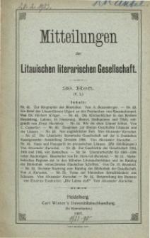 Mitteilungen der Litauischen Literarischen Gesellschaft, H. 29 (V.5), 1907