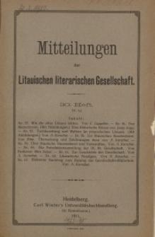 Mitteilungen der Litauischen Literarischen Gesellschaft, H. 30 (V.6), 1911