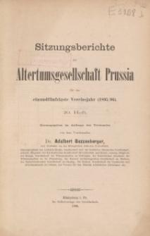 Sitzungsberichte der Altertumsgesellschaft Prussia, H. 20, 1896