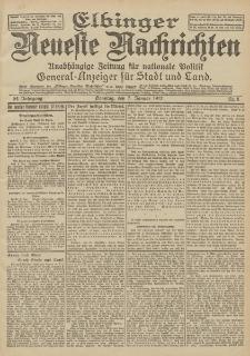 Elbinger Neueste Nachrichten, Nr. 5 Sonntag 7 Januar 1912 64. Jahrgang