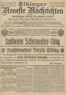 Elbinger Neueste Nachrichten, Nr. 8 Donnerstag 11 Januar 1912 64. Jahrgang